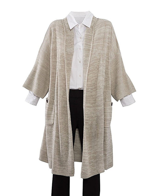 3/4 Sleeve Pocket Sleeve Cardigan