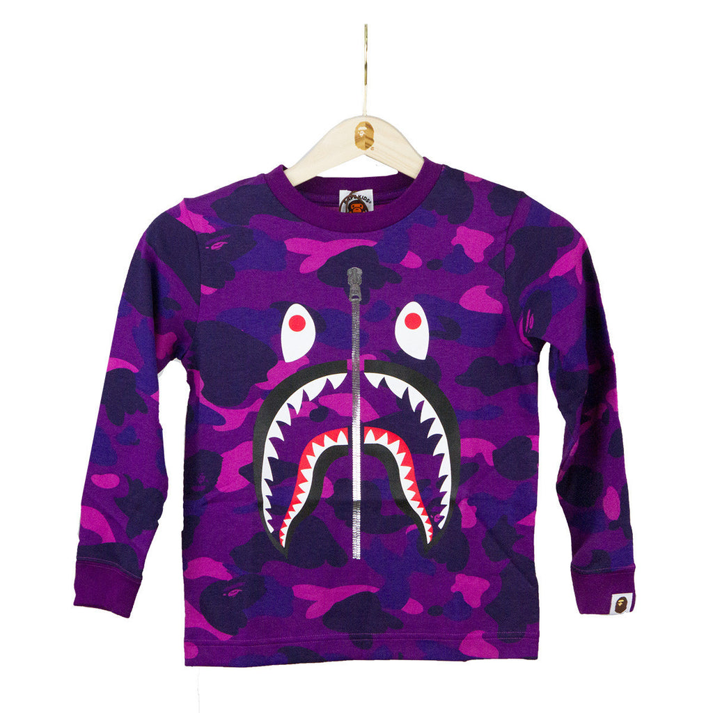 Bape Kids Shark Tee l purple camo/LS