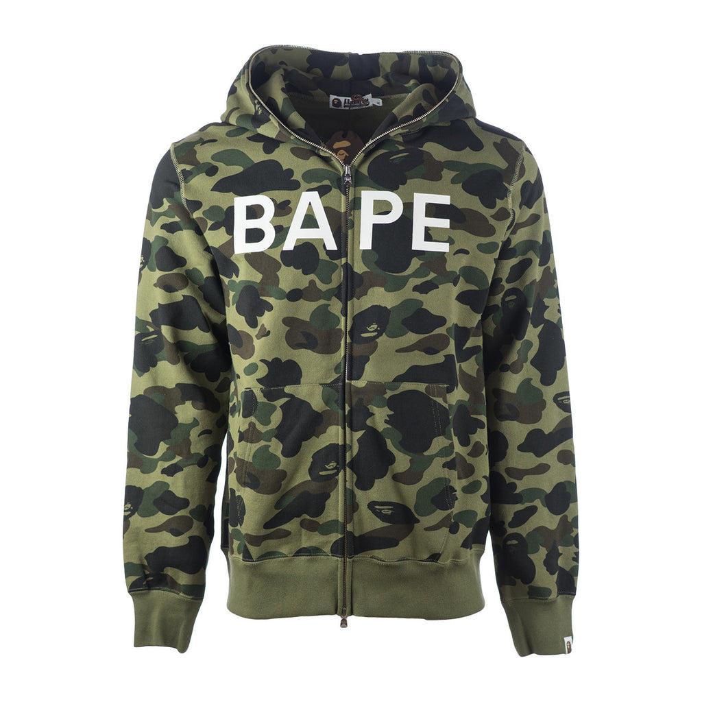 Bape Full Zip Hoodie l green camo/lettered