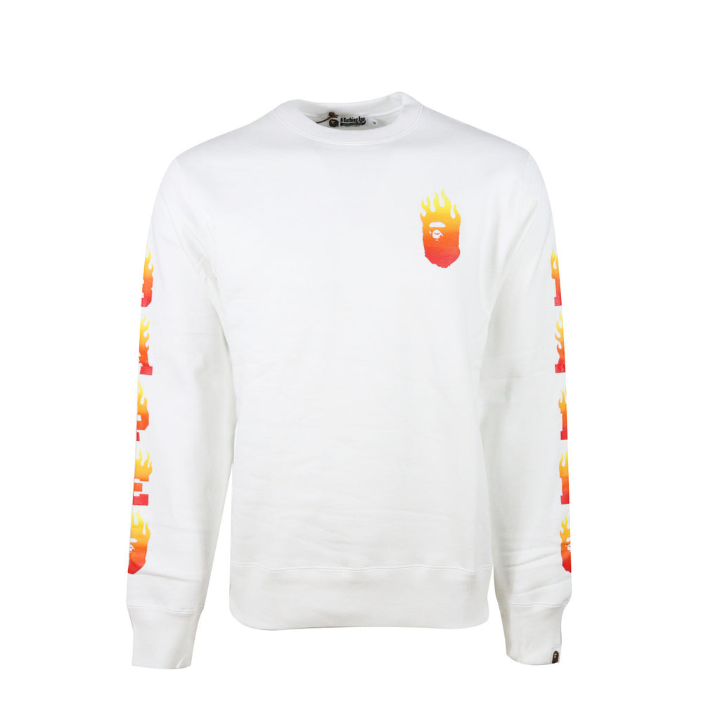 Bape Ape Head Crewneck l white/red flame/side