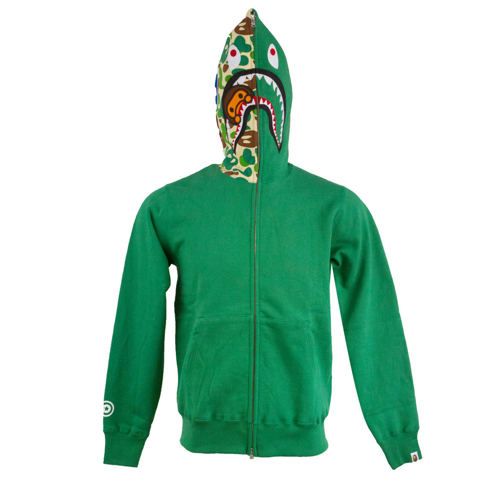 Bape Shark Full Zip Hoodie l green/baby milo