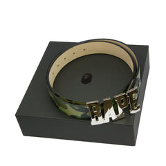 Bape Leather Belt l green camo
