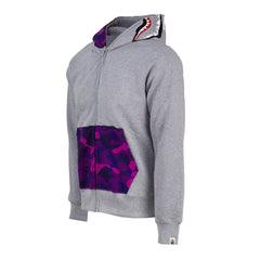 Bape Shark Full Zip Hoodie l grey/purple camo