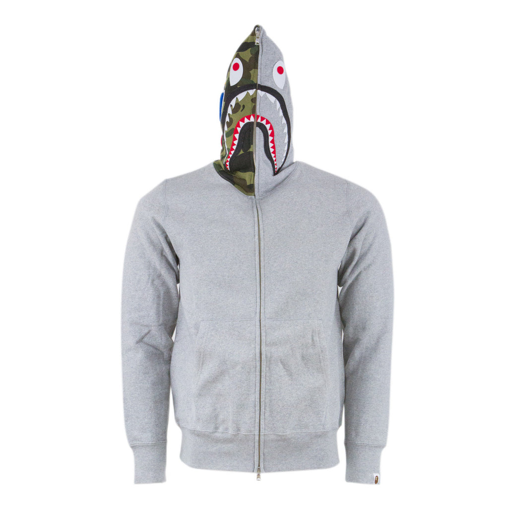 Bape Shark Full Zip Hoodie l grey/gren camo