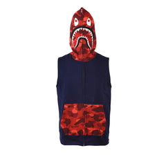 Bape Shark Hoodie Sleeveless l navy/red camo