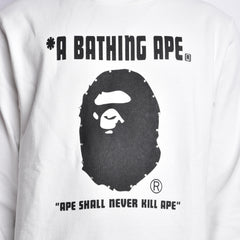 Bape Ape Head Crewneck l white/black/swarovski