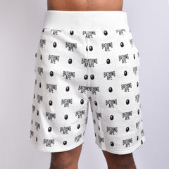 Bape All Logo Sweat Shorts l white/black