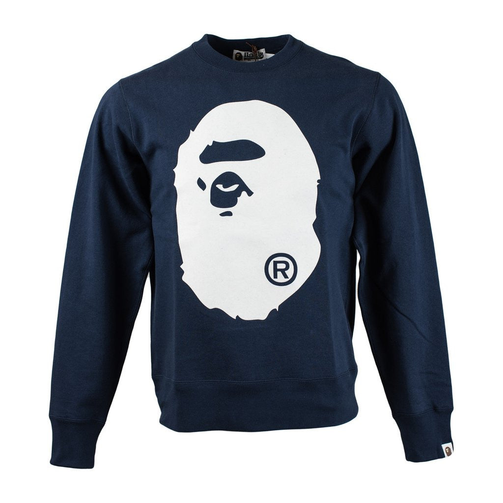 Bape Ape Head Crewneck l navy/ white