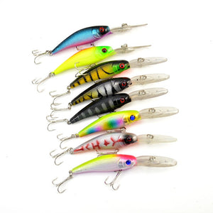 Fishing Lures 8 Piece Minnow Floating Rattle Bass Crankbait Tackle Artificial Fish Bait - Survival Camping Pro