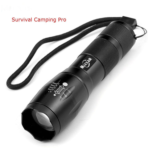 Portable LED Flashlight Torch Zoomable 4000LM E17 CREE XM-L T6 LED 5 Mode Light - Survival Camping Pro