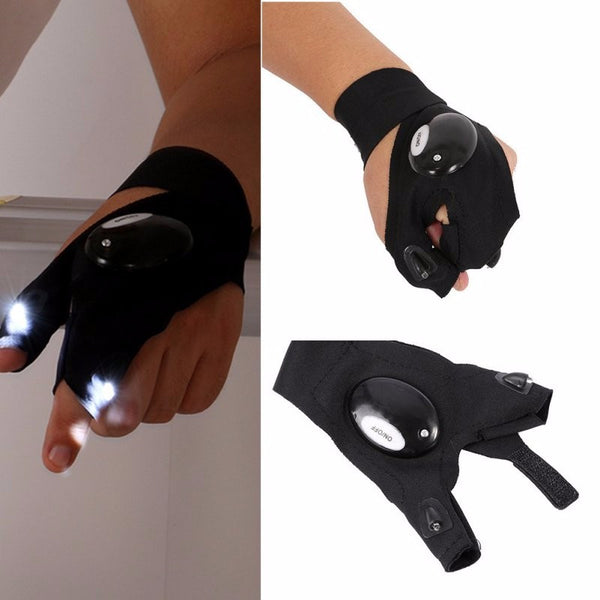 Outdoor Magic Strap Fingerless Glove LED Flashlight Torch Left Hand Glove Survival Rescue Tool - Survival Camping Pro
