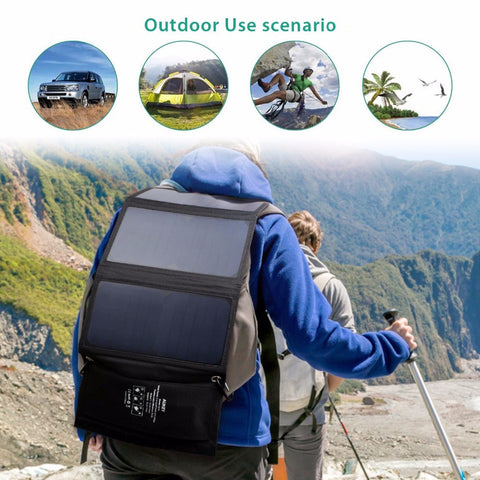 Solar Charger Panel Dual USB Port Camping Apple iPhone, Android, Samsung, HTC, LG - Survival Camping Pro