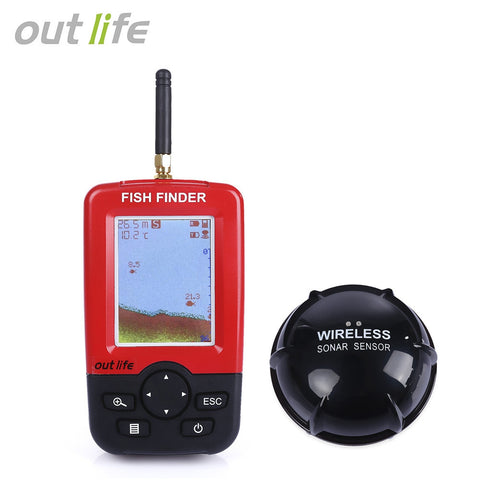 Outlife Portable Fish Finder Sonar Sounder Alarm Transducer 100M Wireless Echo Sounder - Survival Camping Pro
