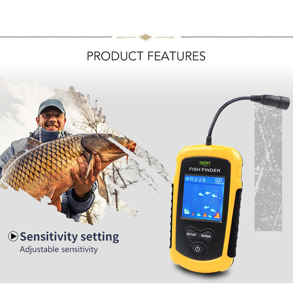 Lucky Fish Finder Alarm 100M Portable Sonar LCD Lure Bait Echo Sounder Fishing Tackle - Survival Camping Pro