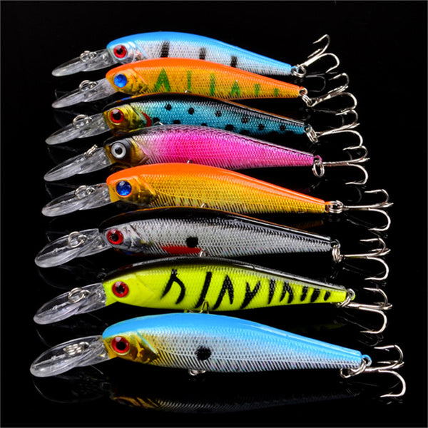 Fishing Lures Set of 48 Mixed Minnow Artificial Lures Crankbait Wobblers Fishing Tackle - Survival Camping Pro