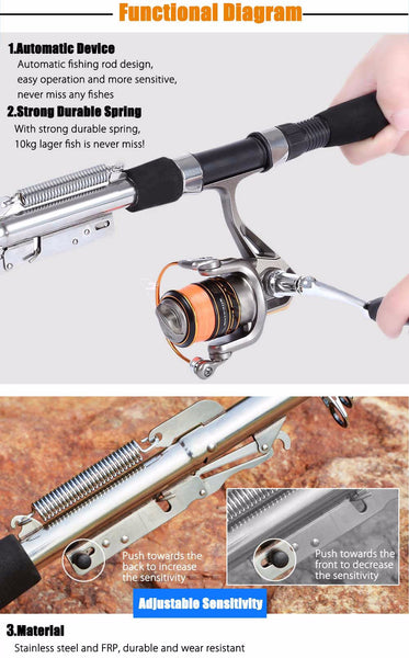 Sea River Lake Stainless Steel Automatic Fishing Rod High Quality - Survival Camping Pro