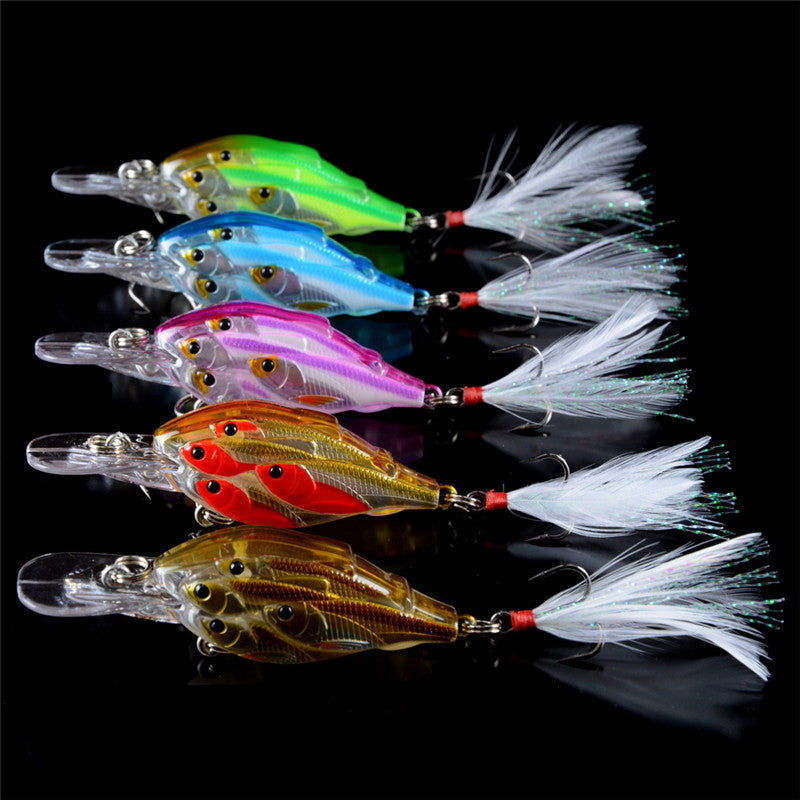 Fishing Lures Super Shoal Crankbait 5 Colors 5 Pieces 7cm 6.5g Minnow Freshwater Saltwater 6# Hook With Feather - Survival Camping Pro