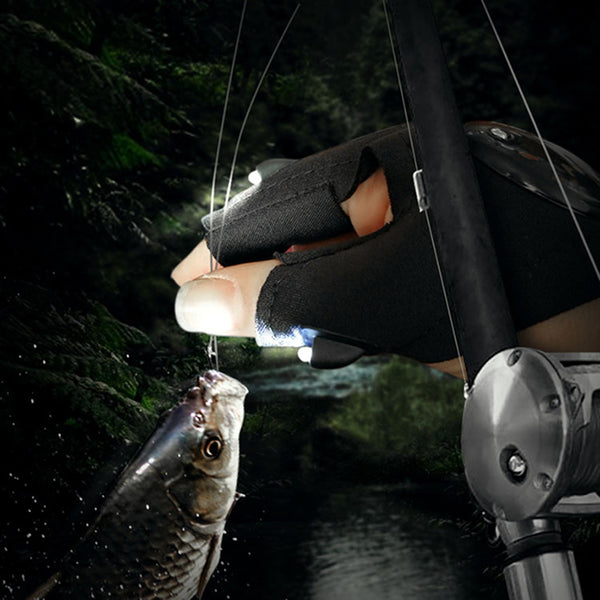 Multipurpose Strap Fingerless Glove LED Flashlight Glove For  Fishing Hunting Repairing Survival - Survival Camping Pro