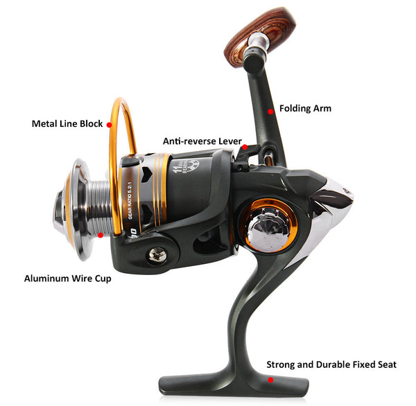 Spinning Fishing Reel 11BBs 5.2:1 Aluminium Foldable & Professional Handle - Survival Camping Pro