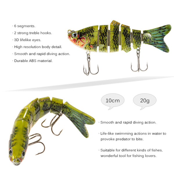 Fishing Wobblers Six Segments 10cm 20g Swimbait Crankbait Lure - Survival Camping Pro