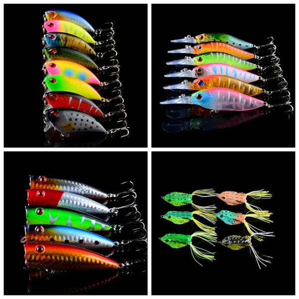 Fishing Lures 61 Piece Mixed Set 9 Models Hard Baits Bass Crankbait Wobblers Bait - Survival Camping Pro