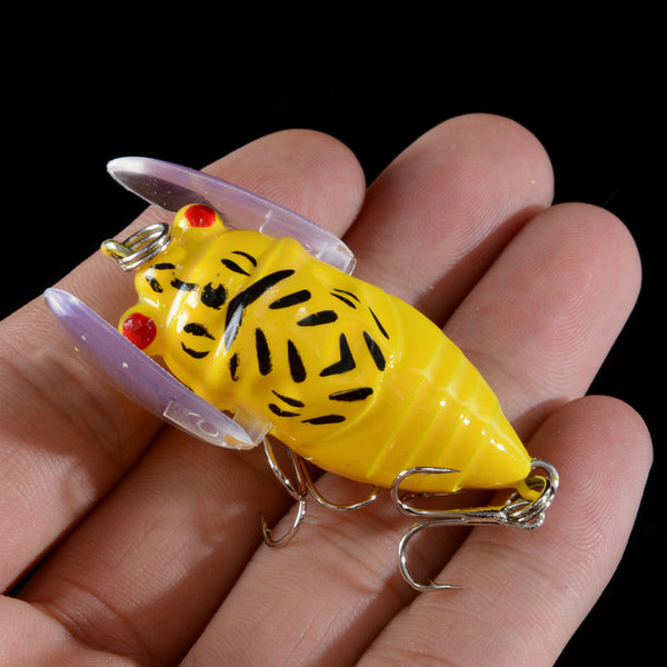 Cicada Insect Fishing Lures 5 Pieces 3D Eyes with Wings Artificial Bait Treble Hooks - Survival Camping Pro