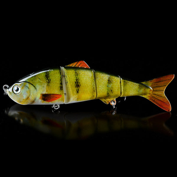 Multi Jointed Bass Fishing Lifelike Lure With 3D Eyes 4 Sections Swimbait Hardbait 6# Hooks - Survival Camping Pro