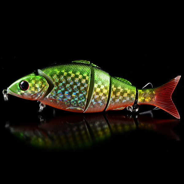 Fishing Lure Lifelike Swimbait With 3D Eyes and 4# Treble Hooks 5 Jointed Sections - Survival Camping Pro