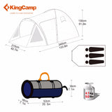 KingCamp Ultralight Large Space Fire-Resistant Waterproof 3-Person Camping Tent - Survival Camping Pro