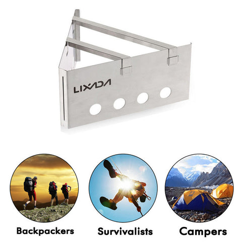 Lixada Outdoor Compact Lightweight  Wood Stove Portable Cooking Picnic Stainless Steel - Survival Camping Pro