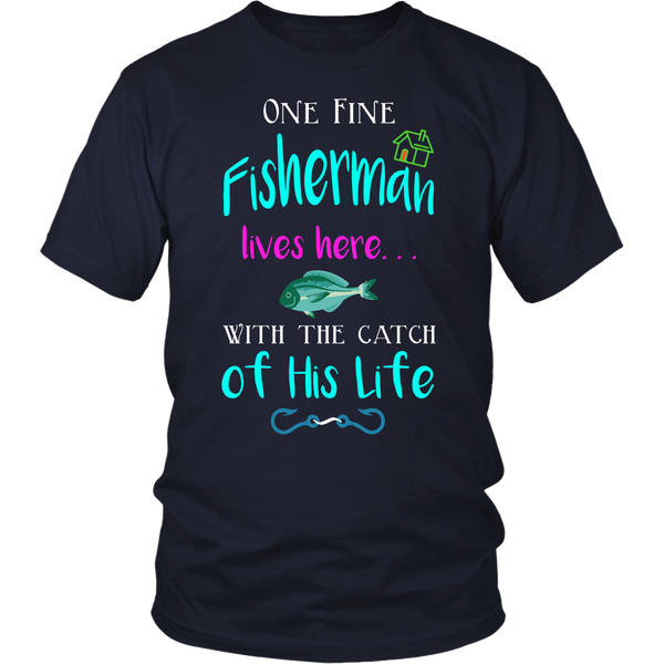 Funny Romantic Fisherman Catch Of His Life Angler Relationship Fishing T-shirt - Survival Camping Pro