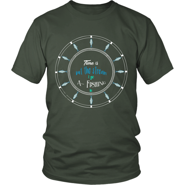 Time Is But The Stream I Go A Fishing In Funny Fisherman Angler T-shirt Tee - Survival Camping Pro