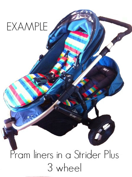 Steelcraft Strider Plus Double pram liners. Non slip, reversible, padded and custom made in Australia.