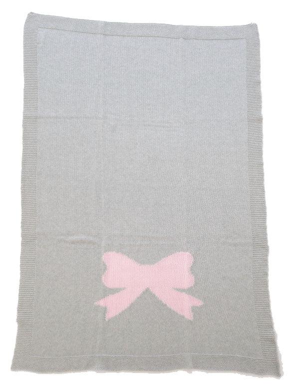 Alimrose knitted pram or cot blanket. 100% cotton Grey and pink bow. 70cm x 100cm