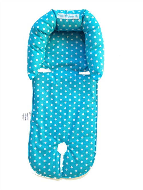 Aqua spots head support / head hugger newborn to 4 months old. Custom made Mini Happy Me