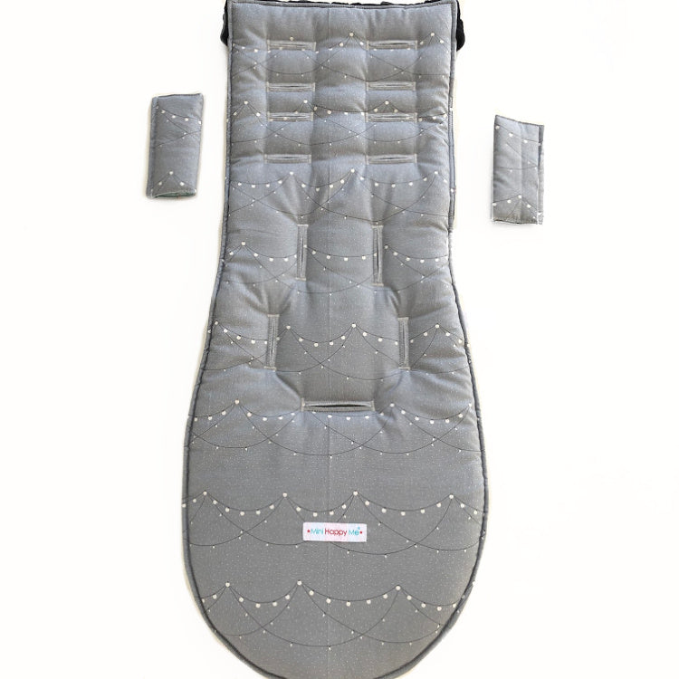 Custom Made Reversible pram liner and shoulder pad covers with soft padding inside - polyester wadding- Grey cotton fabric