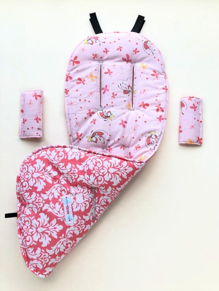 SALE comfy Pretty Butterfly pink and Dandy Damask Petal pram liner and shoulder pad covers to fit Babyzen Yoyo and Yoyo Plus