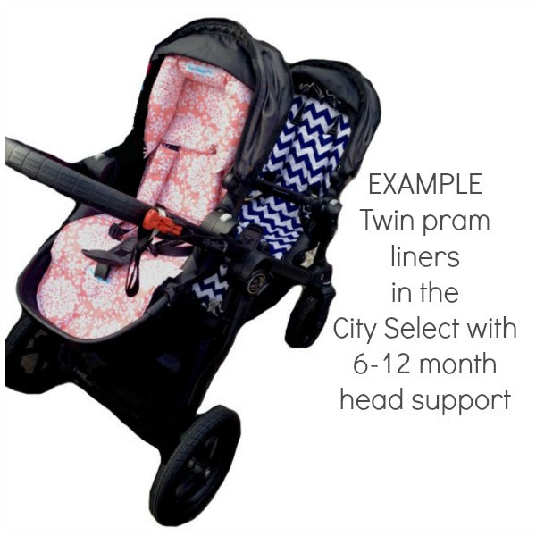 Baby Jogger City Select Twin Double Non slip Reversible pram liners