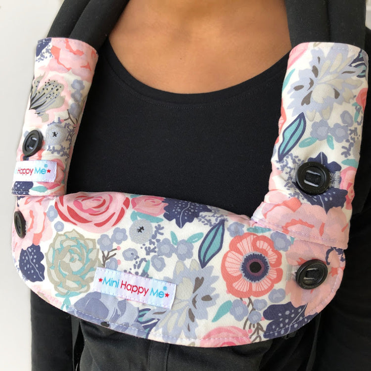 Pretty Floral Edie Jane Chevron Reversible Teething Dribble Bib + Drool Pads Fits ERGO 360 OMNI- READY TO SHIP
