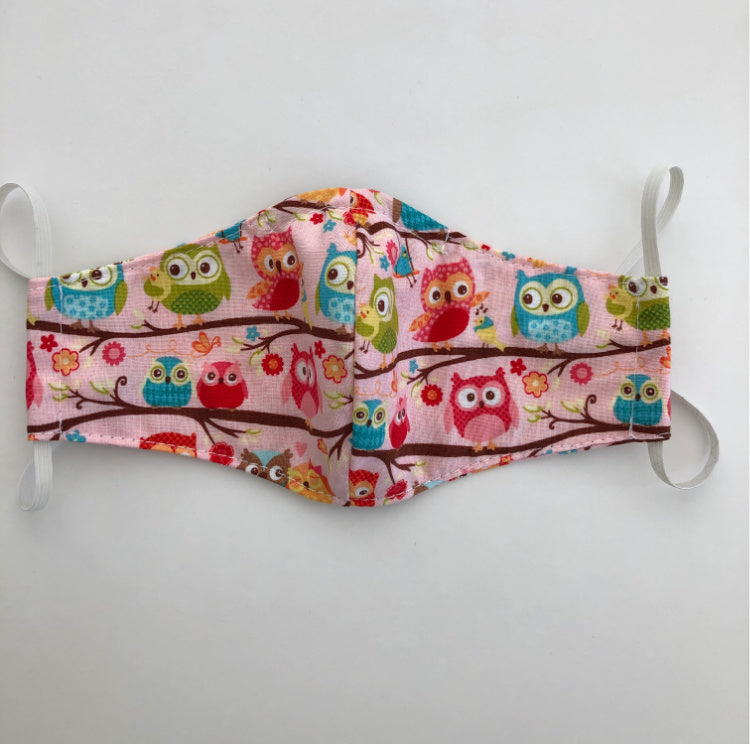 reusable washable fabric face mask with nose wire in Pink Owls cotton fabric