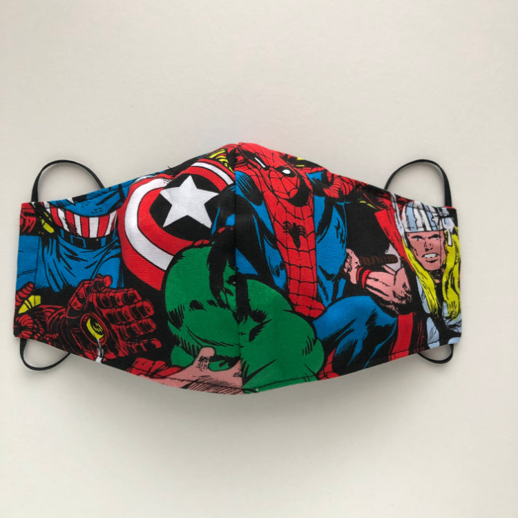 reusable washable fabric face mask with nose wire in Marvel comic cotton fabric