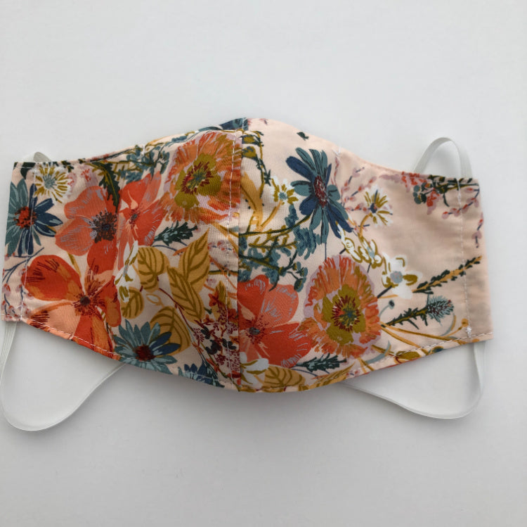 reusable washable fabric face mask with nose wire in pretty floral cotton fabric