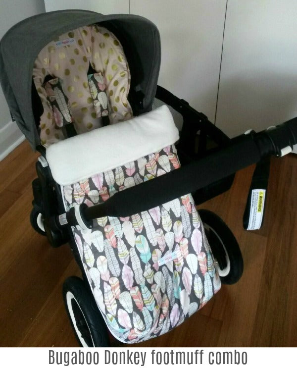 Bugaboo Donkey footmuff and pram liner combo. Non slip and warm. Mini Happy Me