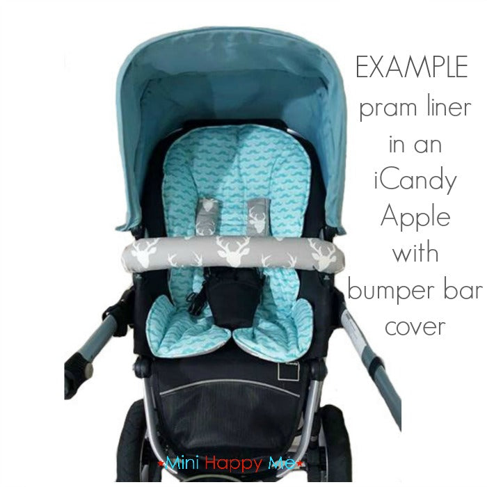 CUSTOM ORDER Reversible pram liner and belly bar cover - iCandy Apple or Pear