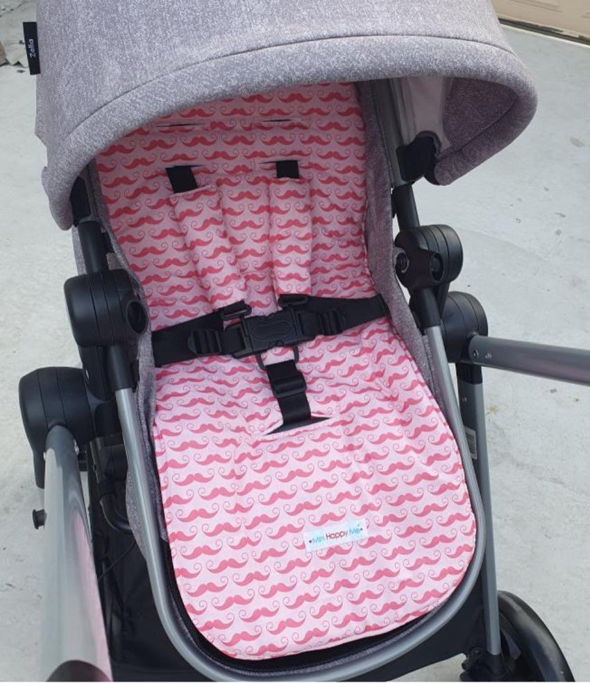Maxi Cosi Zelia 2-in-1 Bassinet Stroller pram liner in pink moustache cotton fabric