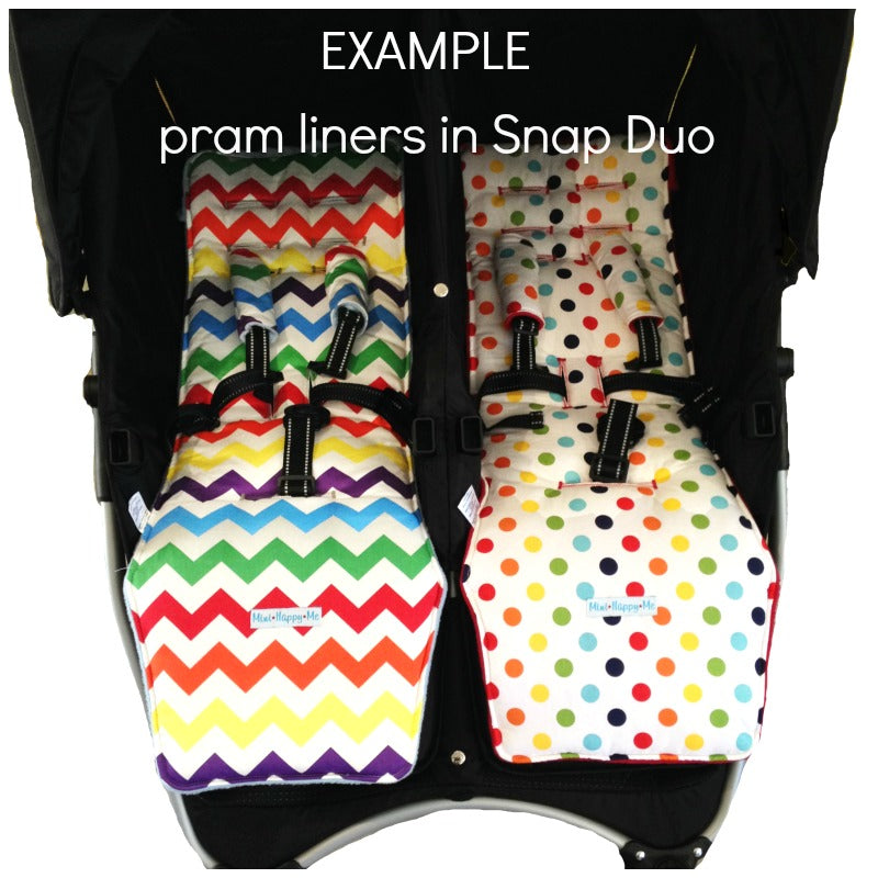 Valco Snap Duo pram liners and strap covers- non slip, reversible, padded and custom made.