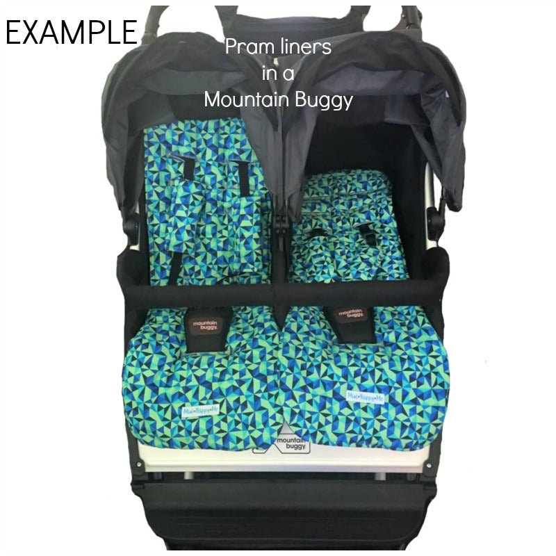 Reversible non slip pram liners shoulder pads / strap covers Mountain Buggy Duo Twin pram- custom made, padded or 100% cotton.