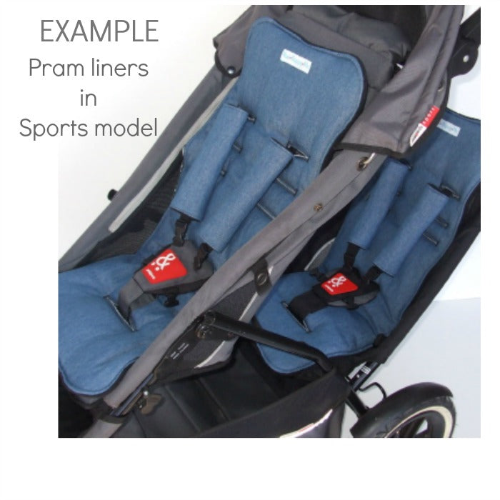 Non slip reversible pram liners. Phil and Teds Sport. Custom made in Australia.