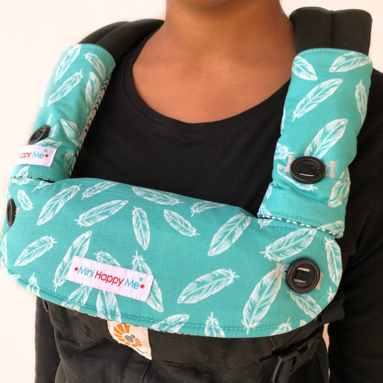 Teal Feathers Reversible Teething Dribble Bib + Drool Pads Fits ERGO 360 OMNI- READY TO SHIP