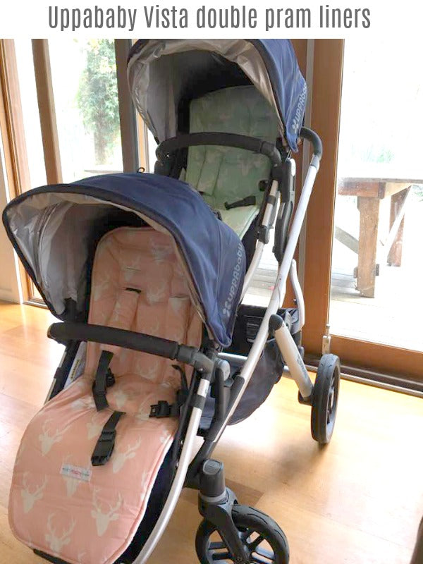 Uppababy Vista and Rumble seat pram liners. Non slip, reversible, soft and padded. Custom made in Australia.